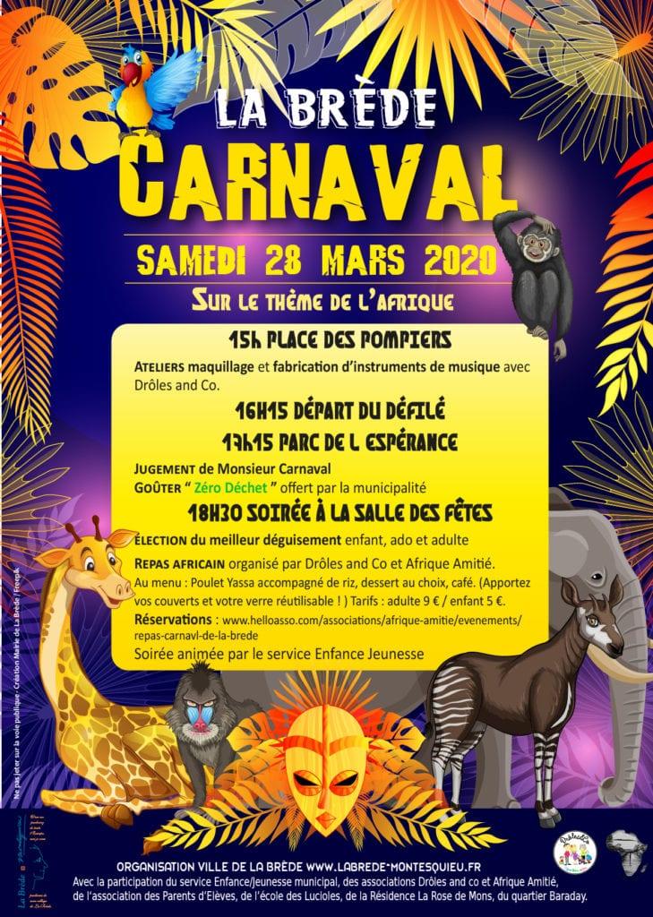 Affiche Carnaval de La Brède 2020